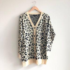 Love Tree Cheetah Print Cardigan Sweater 9353WY M